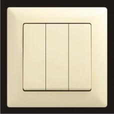 Выключатель тройной Gunsan Visage кремовый VS 28 12 160