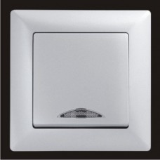 Выключатель одноклавишный с подсветкой Gunsan Visage серебро VS 28 15 102