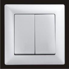 Выключатель двухклавишный Gunsan Visage серебро VS 28 15 103