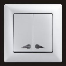 Выключатель двухклавишный с подсветкой Gunsan Visage серебро VS 28 15 104