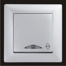Выключатель проходной одноклавишный с подсветкой Gunsan Visage серебро VS 28 15 108