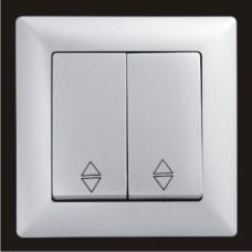 Выключатель проходной двухклавишный Gunsan Visage серебро VS 28 15 109