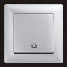 Кнопка звонка одинарная Gunsan Visage серебро VS 28 15 111