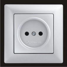 Розетка одинарная Gunsan Visage серебро VS 28 15 113