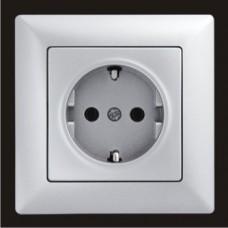 Розетка с заземлением одинарная Gunsan Visage серебро VS 28 15 115