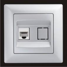 Розетка компьютерная cat. 5E одинарная Gunsan Visage серебро VS 28 15 130