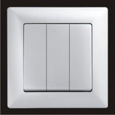 Выключатель тройной Gunsan Visage серебро  VS 28 15 160