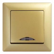 Выключатель одноклавишный с подсветкой Gunsan Visage золото