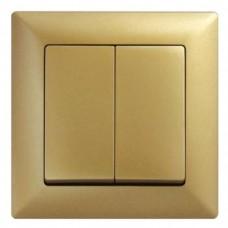 Выключатель двухклавишный Gunsan Visage золото