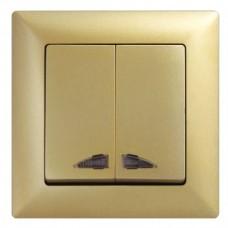 Выключатель двухклавишный с подсветкой Gunsan Visage золото