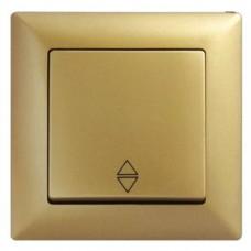 Выключатель проходной одноклавишный Gunsan Visage золото