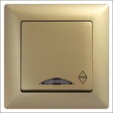 Выключатель проходной одноклавишный с подсветкой  Gunsan Visage золото