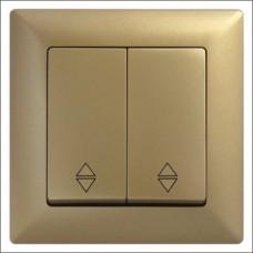 Выключатель проходной двухклавишный Gunsan Visage золото