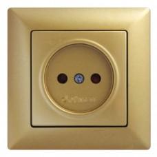 Розетка одинарная с защитными шторками Gunsan Visage золото