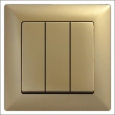 Выключатель тройной Gunsan Visage золото