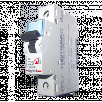 Автоматический выключатель однополюсный Legrand TX3 20A 1Р 6кА тип «C»