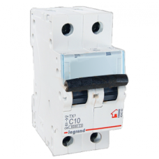 Автоматический выключатель двухполюсный Legrand TX3 10A 2Р 6кА тип «C»
