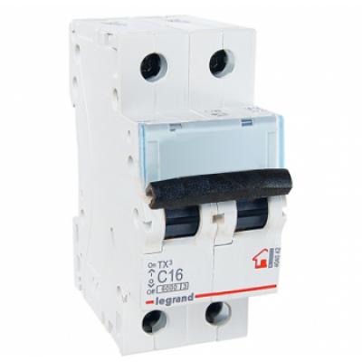 Автоматический выключатель двухполюсный Legrand TX3 16A 2Р 6кА тип «C»