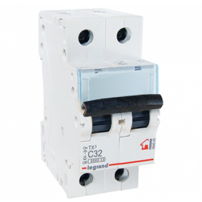 Автоматический выключатель двухполюсный Legrand TX3 32A 2Р 6кА тип «C»