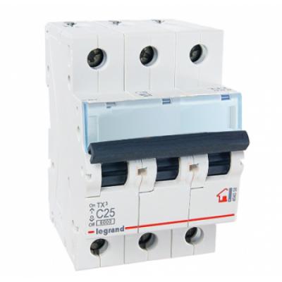 Автоматический выключатель трехполюсный Legrand TX3 25A 3Р 6кА тип «C»