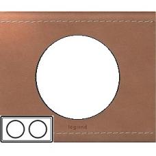 Рамка двойная Legrand Celiane 69282 кожа крем-карамель