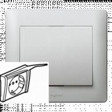 Панель розетки с заземлением и крышкой Galea Life 771322 алюминий