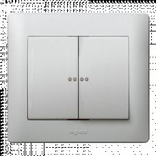 Клавиша 2-я с подсветкой Galea Life 771379 алюминий