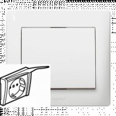 Лицевая панель для розетки с заземлением с крышкой IP20 777022 белая