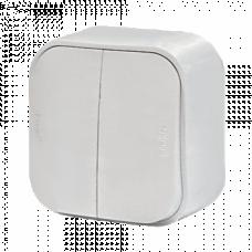 Выключатель 2-кл. Legrand Quteo 782202, накладной, цвет белый