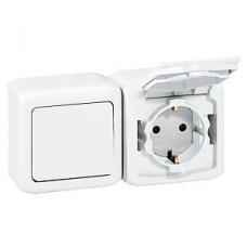 Выключатель и розетка з/к и шторки IP44 782318 белый