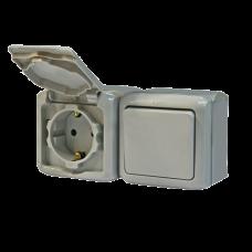 Выключатель и розетка з/к и шторки IP44 782348 серый