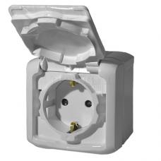 Розетка с заземлением и со шторками IP44 782351 серый
