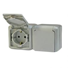 Розетка 2-ая с заземлением и со шторками IP44 782353 серый