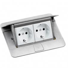 Выдвижной розеточный блок в стол или пол четырехмодульный 54011 алюминий