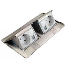 Выдвижной розеточный блок в стол или пол шестимодульный 54012 алюминий