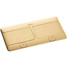 Выдвижной розеточный блок в стол или пол шестимодульный 54017 латунь