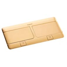 Выдвижной розеточный блок в стол или пол восьмимодульный 54018 латунь