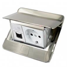 Выдвижной розеточный блок в стол или пол трехмодульный Legrand 54020 нержавеющая сталь