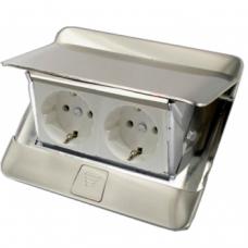 Выдвижной розеточный блок в стол или пол четырехмодульный 54021 нержавеющая сталь