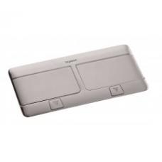 Выдвижной розеточный блок в стол или пол шфестимодульный 54022 нержавеющая сталь