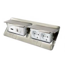 Выдвижной розеточный блок в стол или пол восьмимодульный 54023 нержавеющая сталь