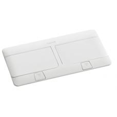 Выдвижной розеточный блок в стол или пол восьмимодульный 54033 белый