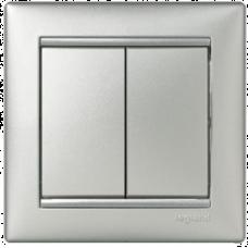 Переключатель (проходной) 2-кл. Valena 770108 алюминий