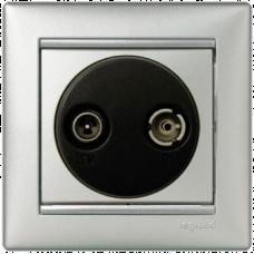 Розетка TV+R оконечная Valena 770133 алюминий