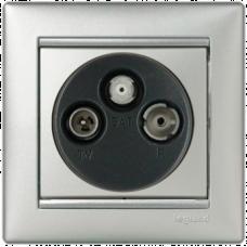 Розетка TV-FM-SAT проходная Valena 770137 алюминий