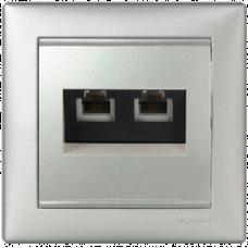 Розетка телефонная 2-я TF-2 RJ11 Valena 770139 алюминий