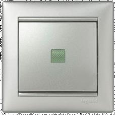 """Выключатель 1-кл промежуточный """"крест"""" с подсветкой Valena 770148 алюминий"""