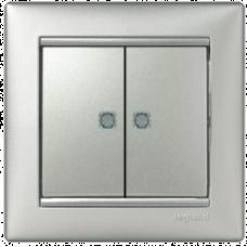 Выключатель 2-кл проходной с подсветкой Valena 770212 алюминий