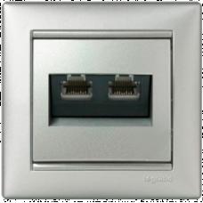 Розетка компьютерная 2xRJ45 UTP кат.5e Valena 770231 алюминий