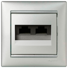 Розетка компьютерная 2xRJ45 STP кат.6e Valena 770245 алюминий